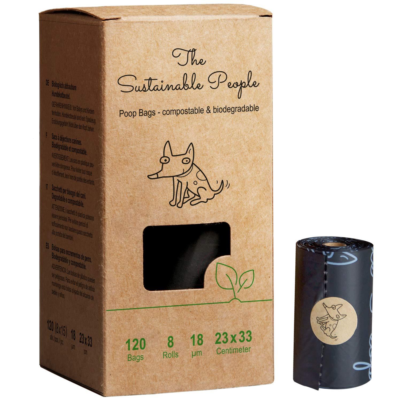TSP Premium bolsas para caca – Basado en almidón – 100% compostable y biodegradable, certificado OK compost HOME y EN13432 (sin OXO, libre de Epi ...