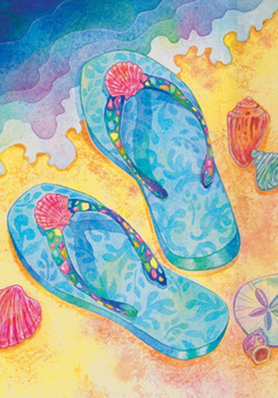 Toland Home Garden 109192 Beach Flip Flops 28 x 40 Inch Decorative, House Flag (28