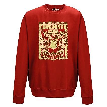 KiarenzaFD Sudadera Cuello Redondo Film Trash años 80 Comunista Cosi Rojo Streetwear Hombre, Fire Red