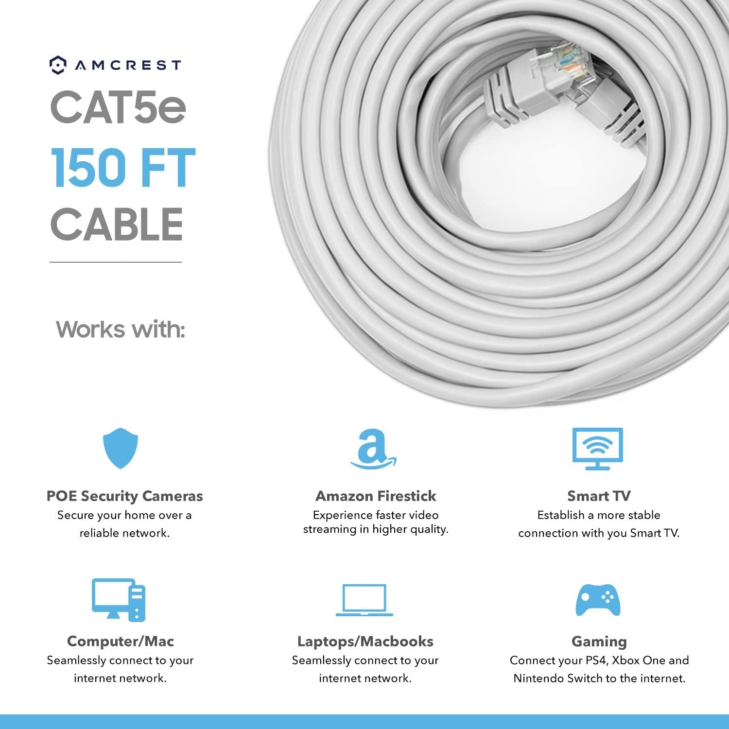 Cat5e Cat 5e Cables Cable 60ft Ethernet Internet High Speed Network For POE TV,