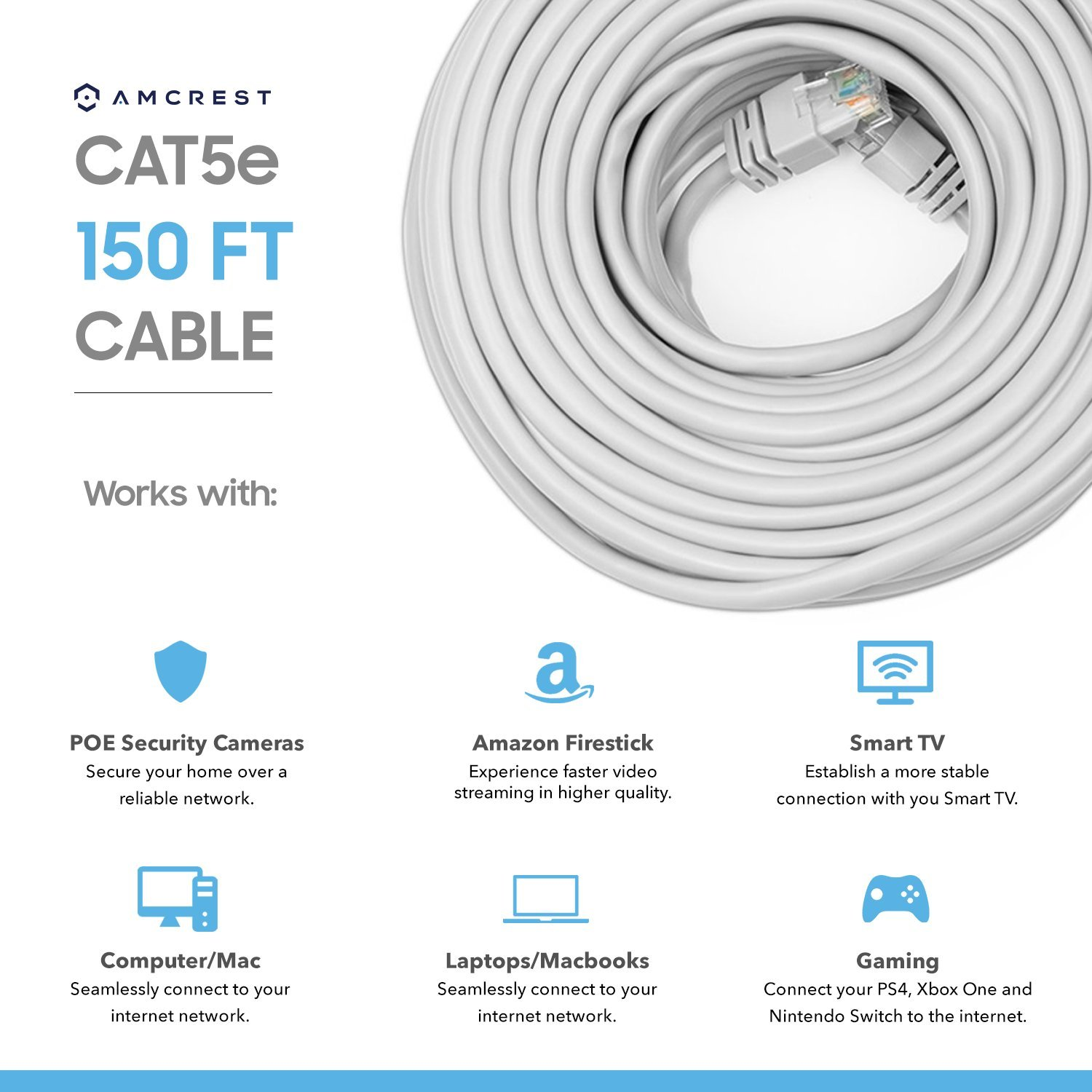 Amcrest Cat5e Cable 150ft Ethernet Cable Internet High Speed Network Cable for POE Security Cameras, Smart TV, PS4, Xbox One, Router, Laptop, Computer, Home, 4-Pack (4PACK-CAT5ECABLE150) by Amcrest (Image #2)