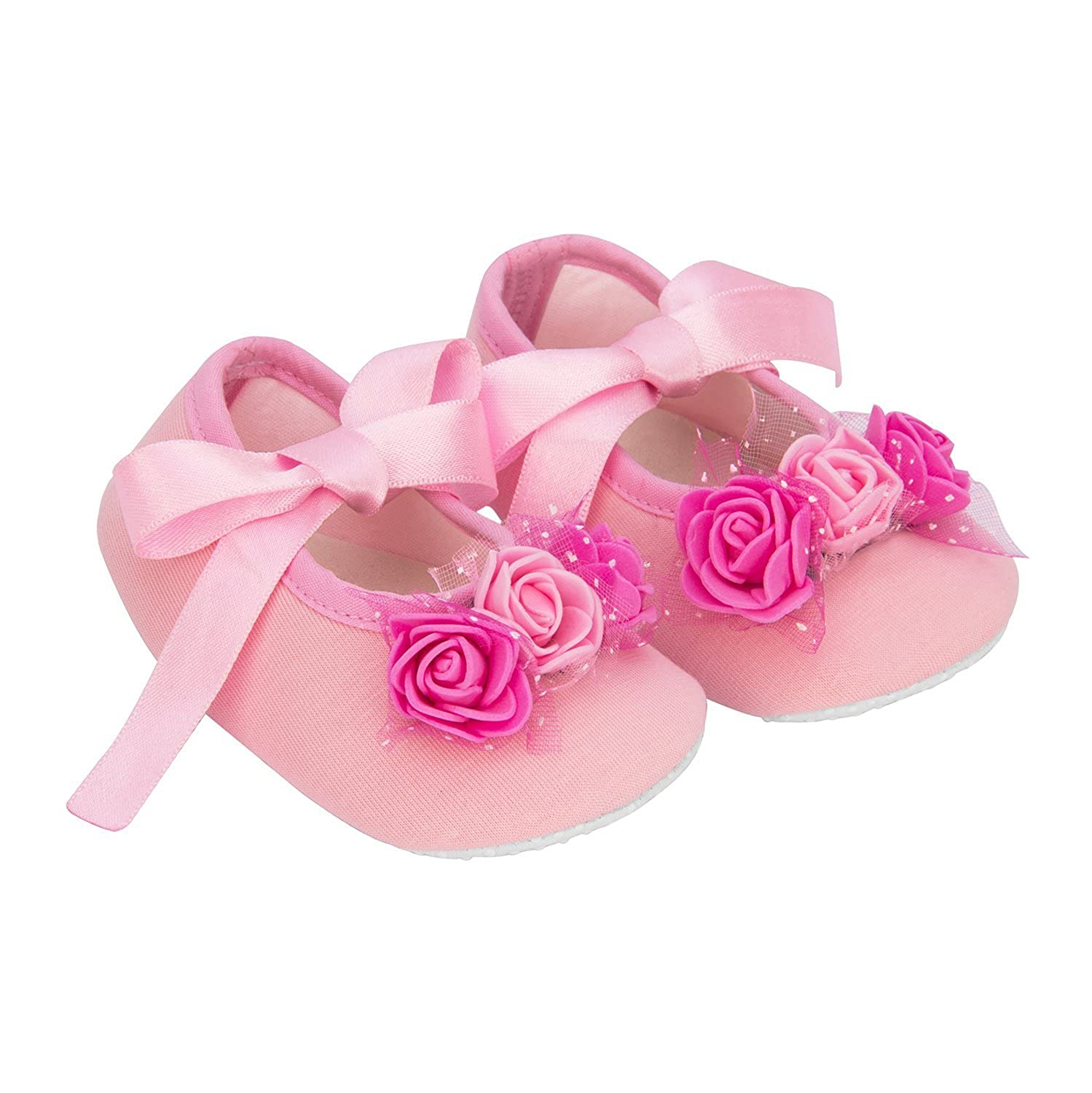 Daizy Baby Shoes/Booties in Pink Ribbon