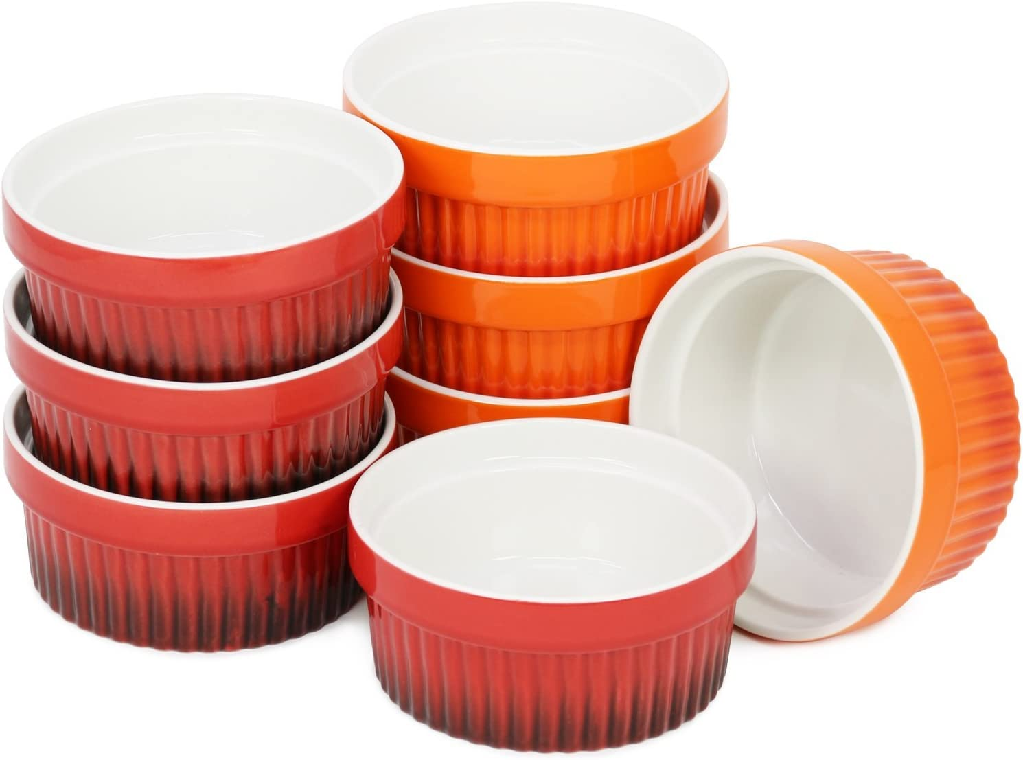 Creme Brulee cuencos cada 260 ml com-four/® 8x Ragout Fin Bowl XXL Postre bowl en naranja y rojo