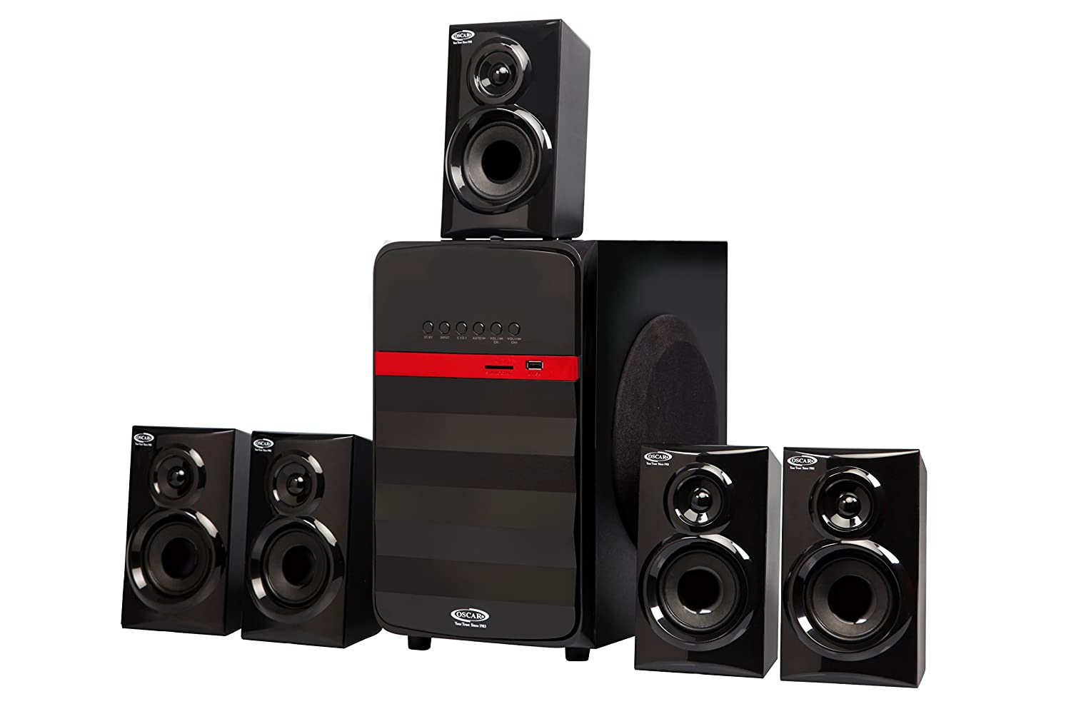 oscar osc 62500bt 5 1 channel 6000w pmpo 5 25 sub woofer home rh amazon in home theater 4 home theater 4