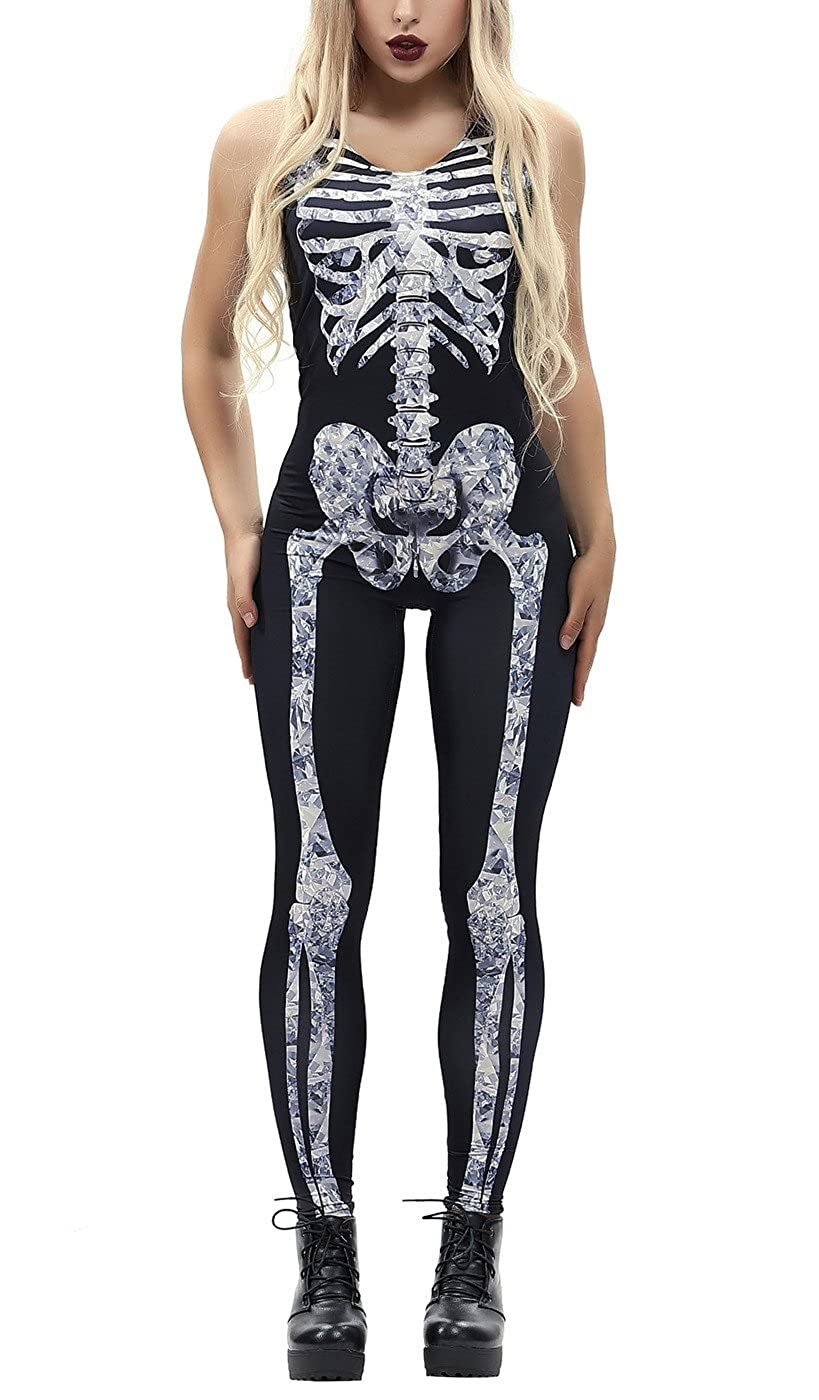 Prettyard Women Skeleton Skull Halloween Cosplay Stretch Tank Jumpsuit Bodysuit PrettyardFashion PrettyMDALZWEBEM200103C