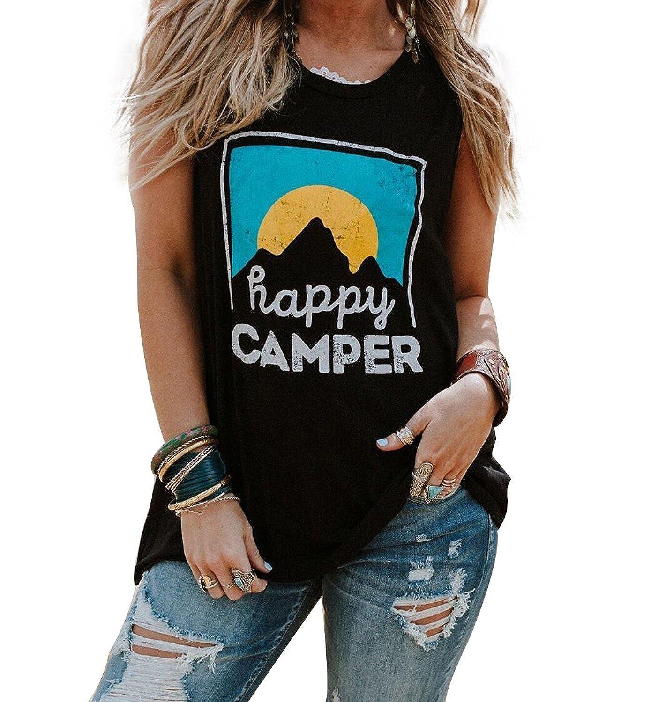 f29e3b0b891649 ❤Happy Camper Fun Tank Top Sunrise Letters Graphic Sleeveless Vest T Shirt  For Women or Girls ❤Funny Baseball Tank Top.