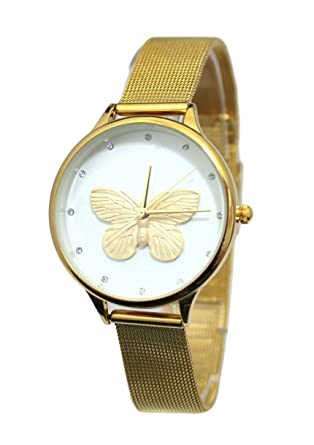 le dernier 377ca e3e25 Montre Femme Gold Or doré Papillon Maille milanaise