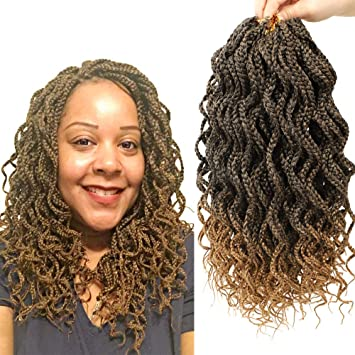 Amazon Com 5 Packs 14inch Medium Blonde Ombre Crochet Box Braids Curly Goddess Box Braiding Crochet Hair Soft Kanekalon Fiber 30 Strands Per Pack Beauty