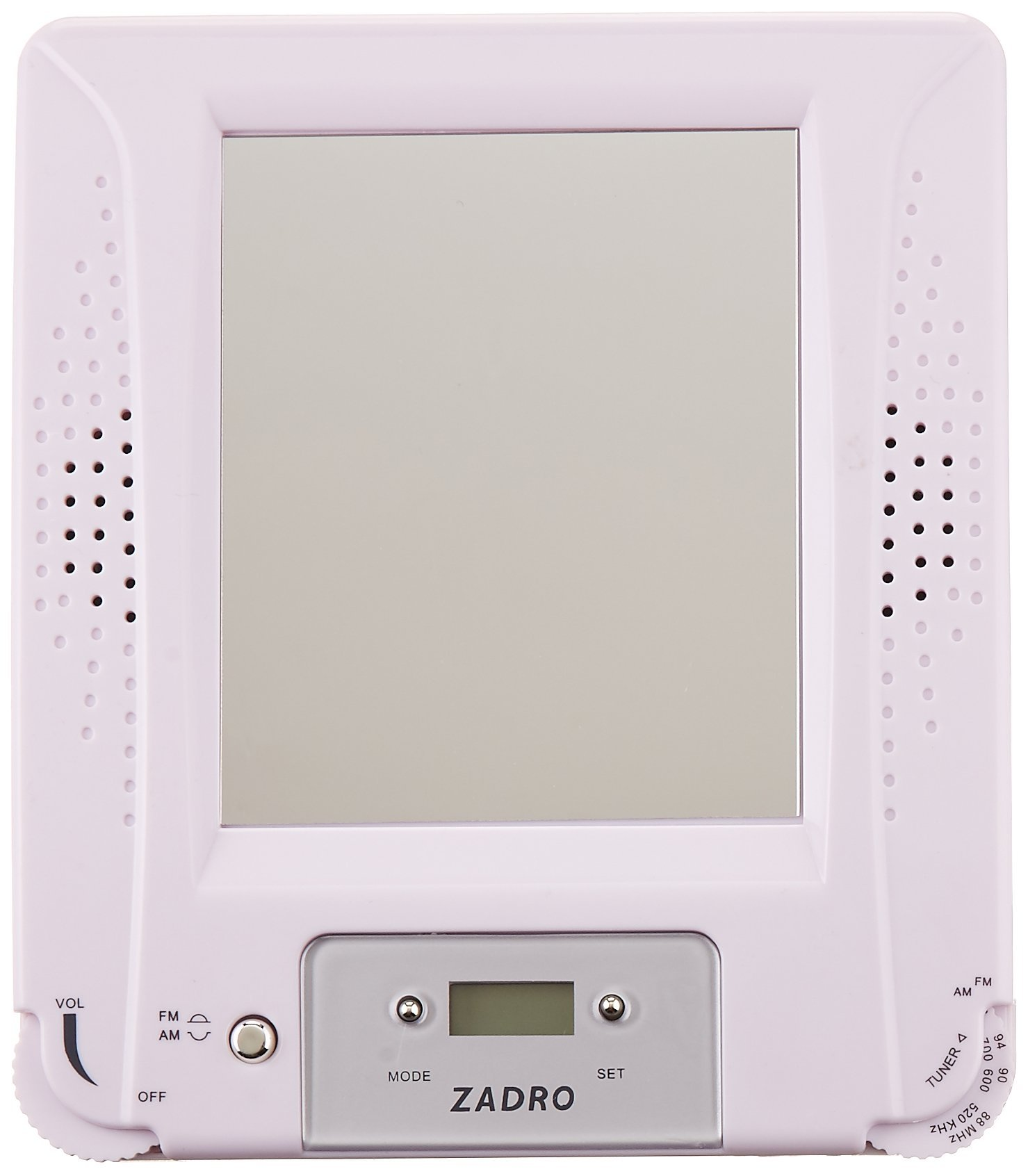 Zadro Z Fogless Stereo Shower Radio with Mirror and Digital Clock, 6.8-Inch by Zadro