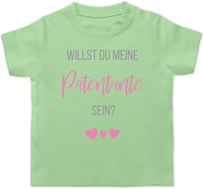 Shirtracer Baby T-Shirt Kurzarm Zur Geburt Willst du Meine Patentante Sein