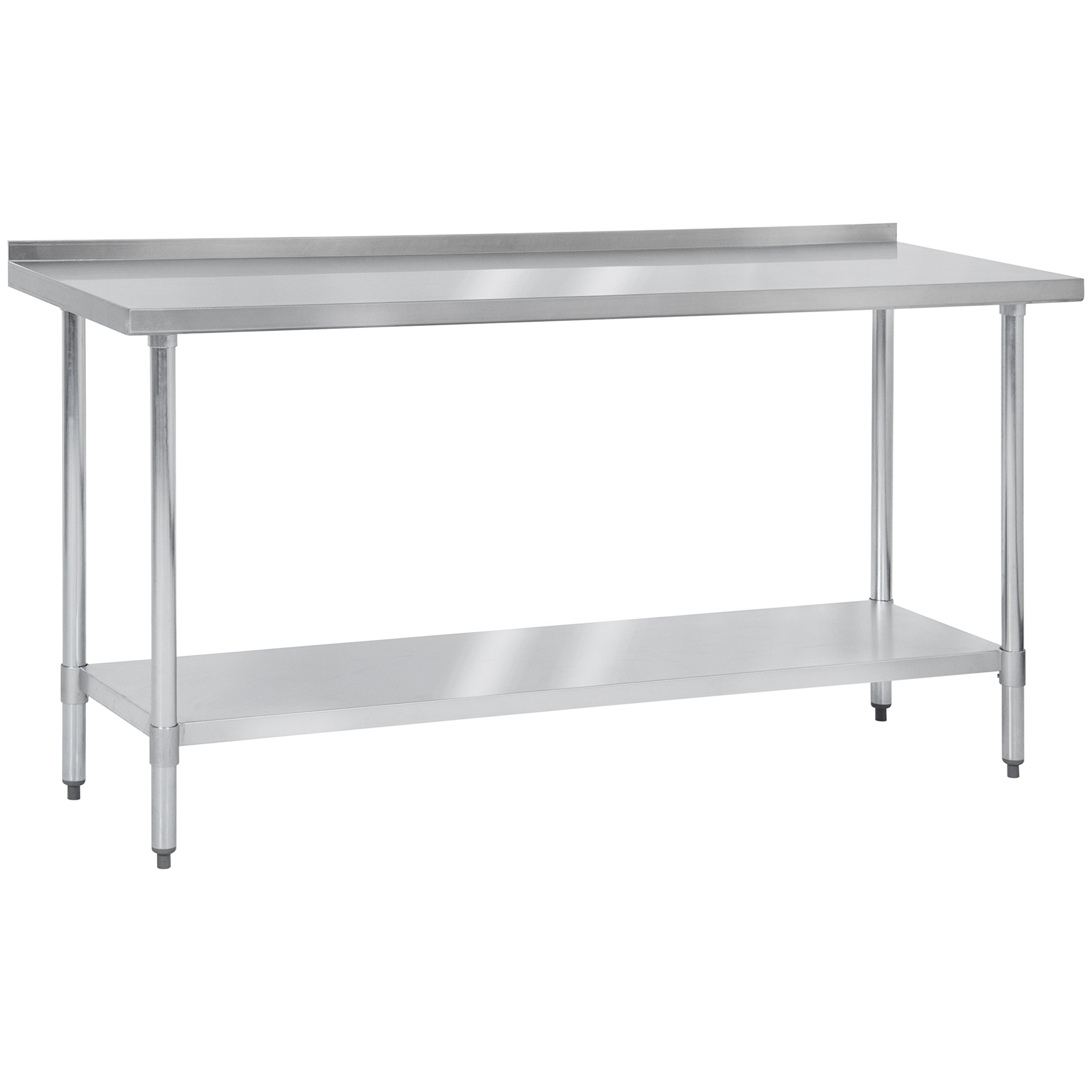 Best Choice Products 72'' x 24'' Stainless Steel Work Prep Table w/ Backsplash For Commercial Restaurant Kitchen Use