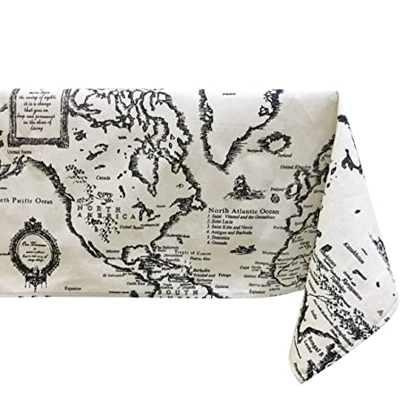 Amazon ustide vintage world map curtain tablecloth sewing ustide vintage world map curtain tablecloth sewing cotton linen fabric square 55x55inch shads gumiabroncs Images