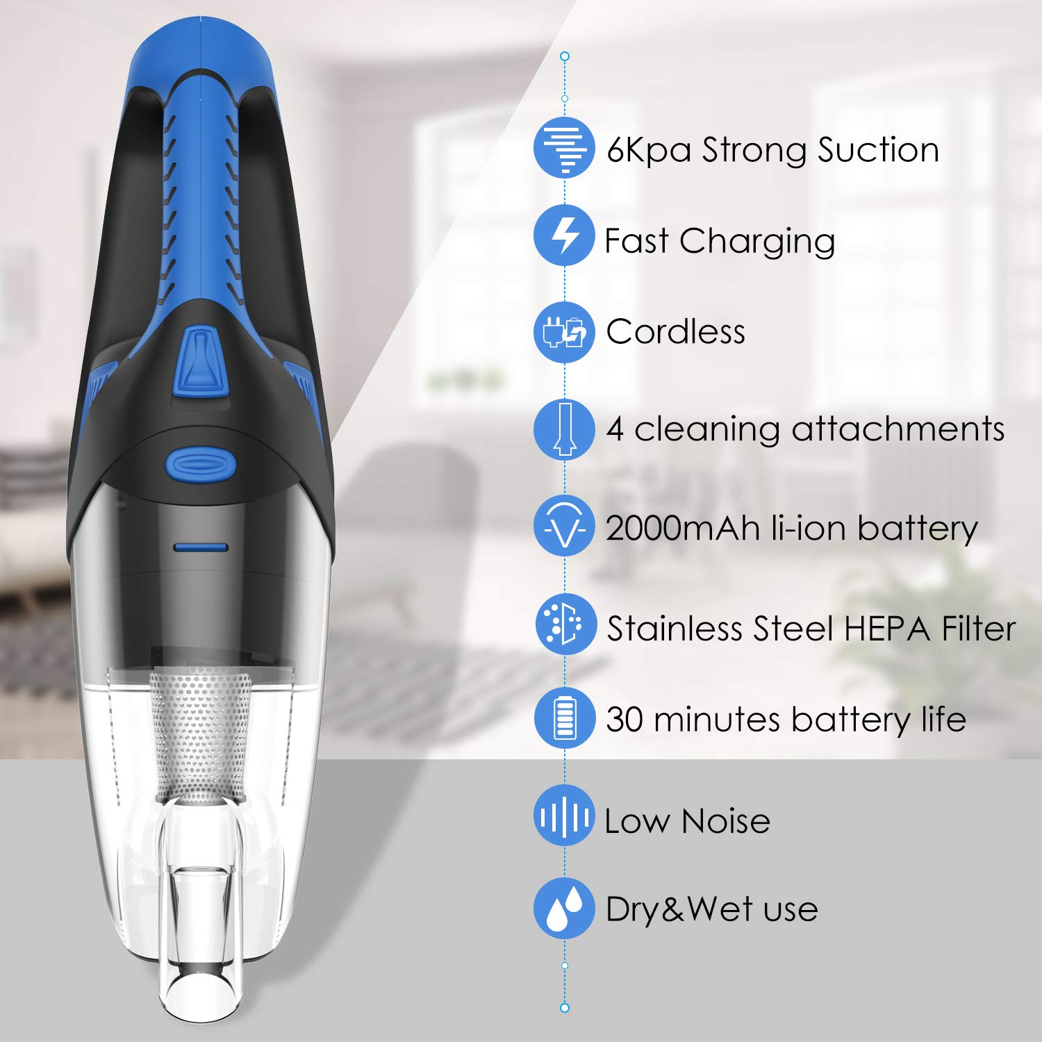 Handheld Vacuum Cordless Dust Buster Portable Wet Dry Pet Hair Rechargeable Hand Vacuum for Home/Car Cleaning, 120W Motor w/ 6kPa Cyclone Suction by Newinner (Image #7)