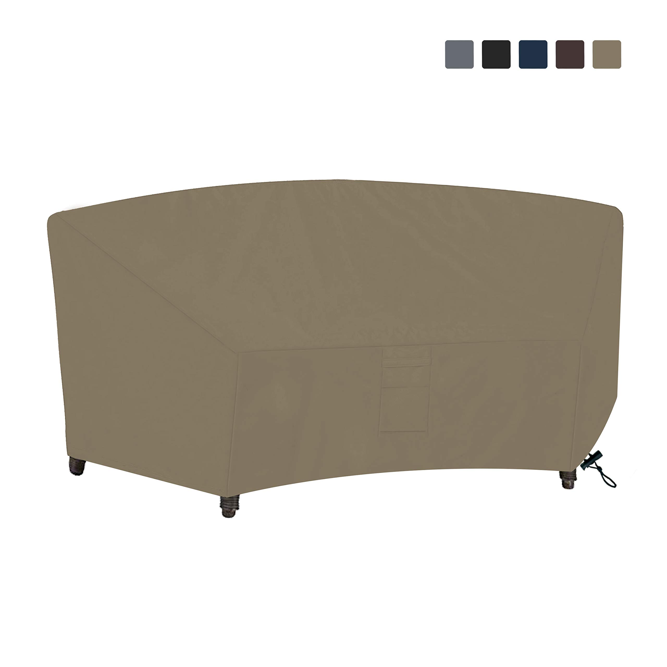 COVERS & ALL Curved Sofa Cover 12 Oz Waterproof - 100% UV & Weather Resistant Customize Outdoor Sofa Cover with Air Pockets and Drawstring with Snug Fit (90W x 34 D x 32 H x 46 FL, Beige)