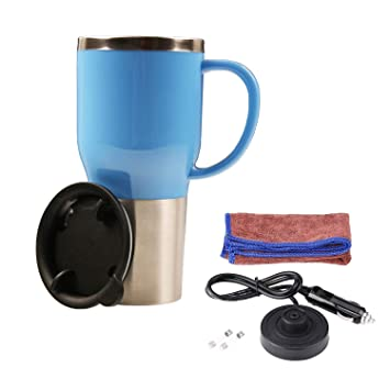 d2f190e7f52 Car Electric Kettle, Heated Travel Mug, Vacuum Insulated Stainless  Steel,12V Adapter,16 Ounce (Blue)