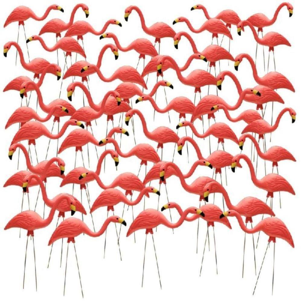 26'' Pink Flamingo Resin Garden Statues Lawn Ornament Retro Decor (50-Pack)