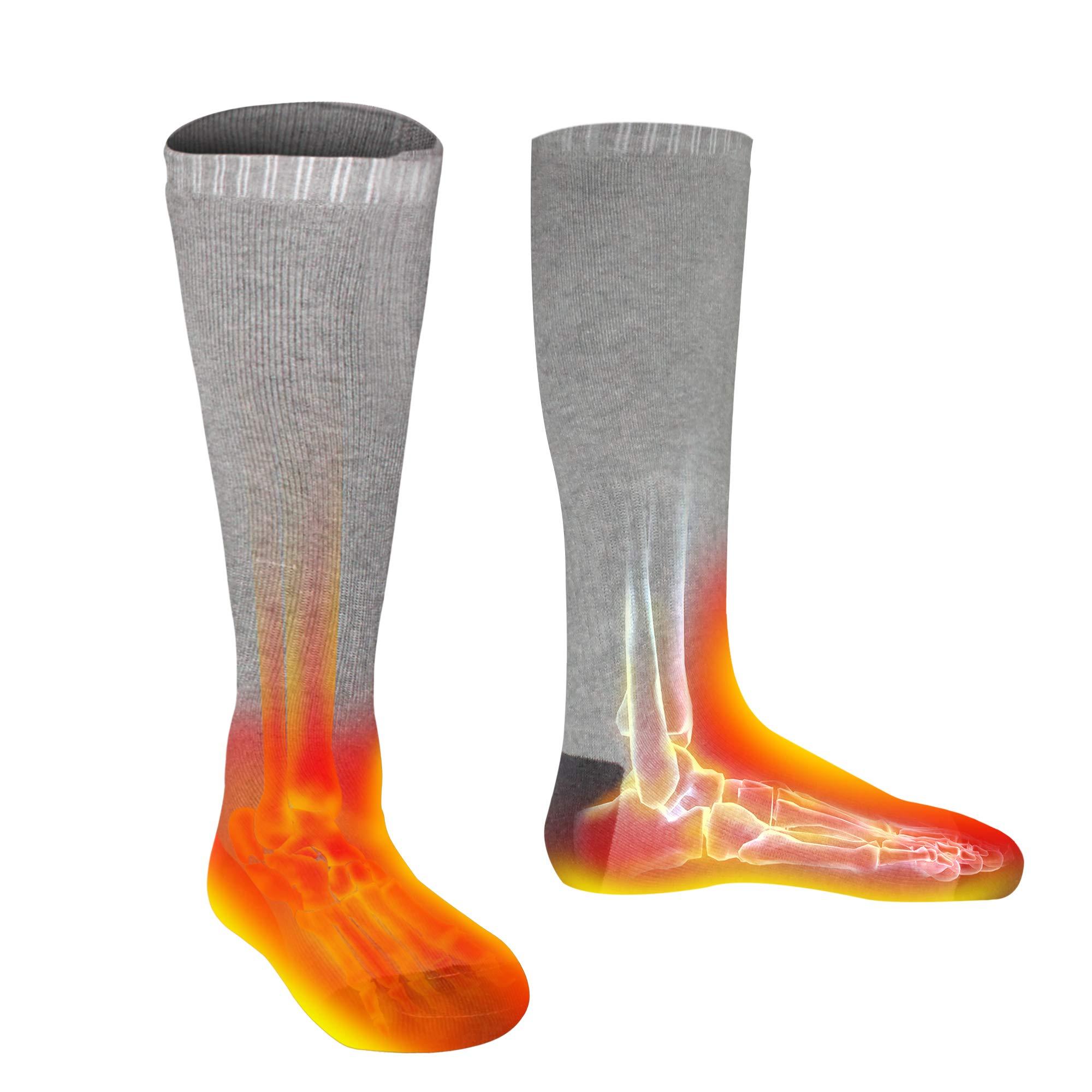 Men Women Socks Electric Socks Heated Socks for Chronically Cold Feet, Rechargeable Batteries Socks Hiking Socks Skiing Socks Socks(Gray) by Highting