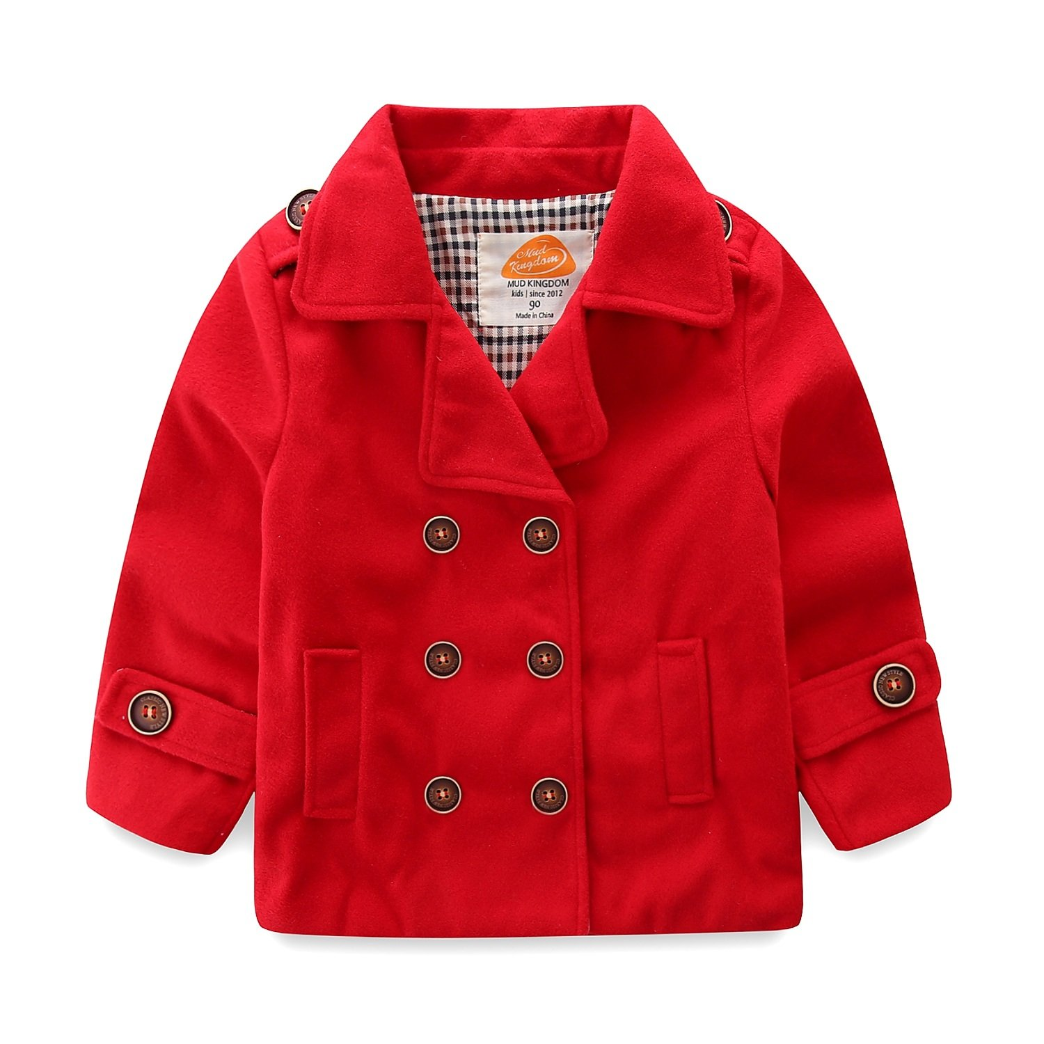 Mud Kingdom Baby Boy Bomber Jacket Plain Faux Wool Coat SS0286