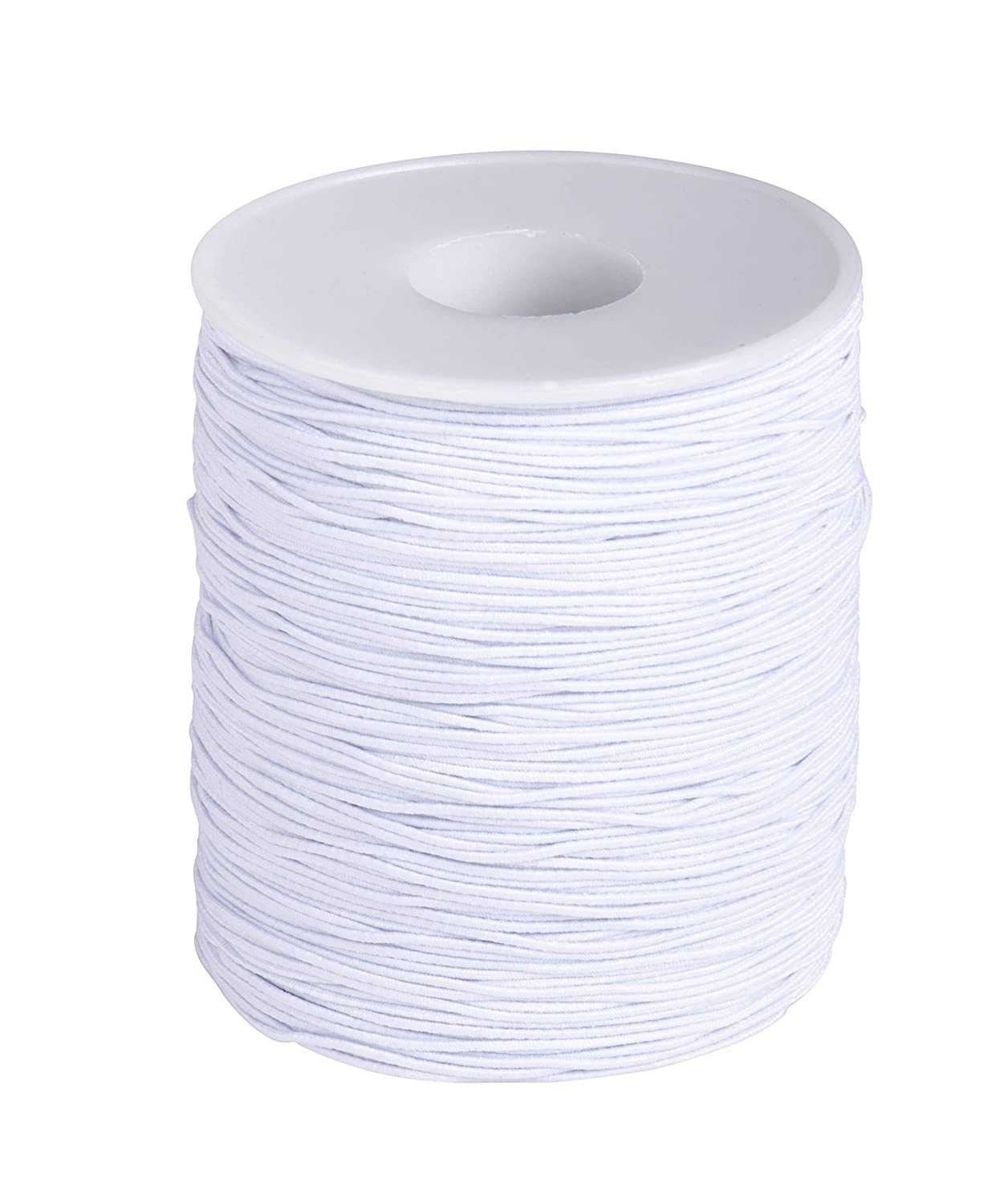 0.7mm White Elastic Cord - 200-Yard Stretch Round String for Beading Crafting Jewelry Bracelet Making, Includes Spool, 600 Feet Juvale