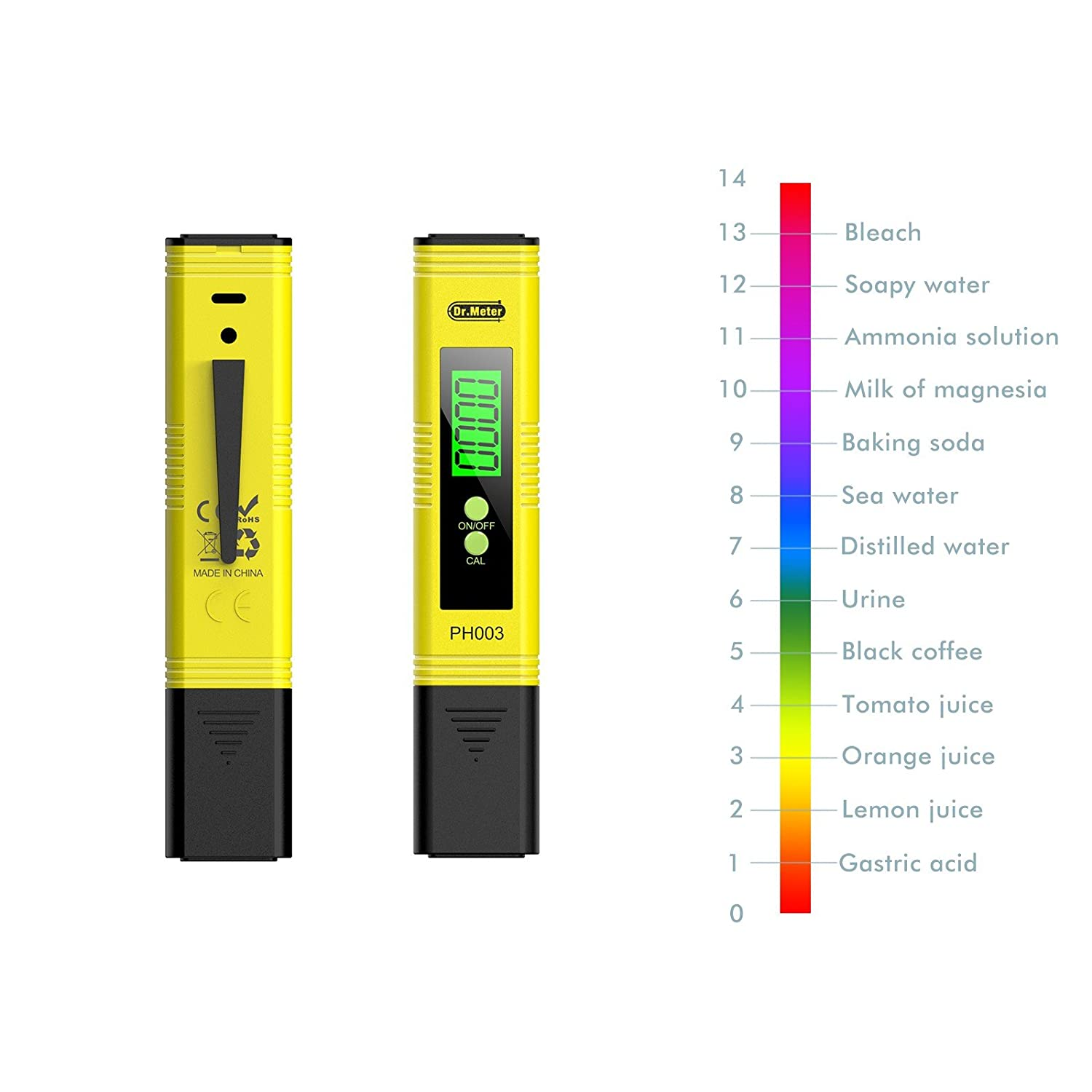 Amazon.com: Dr.meter PH003 Digital pH Meter pH Tester with pH buffer powder pH Test Strips Auto Calibration Button 0-14 pH Testing: Home Improvement