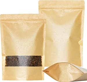 SumDirect Kraft Zip Lock Stand Up Bags Pouches with Notch and Matte Window,7X10 Inches,9.5oz,Pack of 50