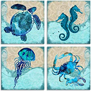 YPY Bathroom Home Decor Turtle Canvas Wall Art Octopus Seahorse Dolphin Beach Posters Decorations Set for Kitchen Teal Ocean Animal Paintings Artwork Pictures