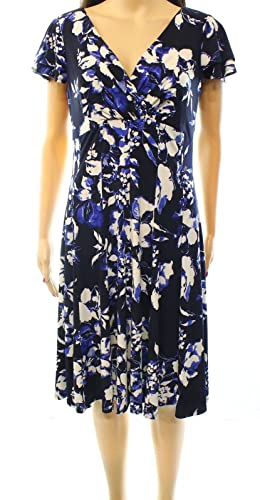Lauren Ralph Lauren Womens Floral Print Surplice Casual Dress Blue 8