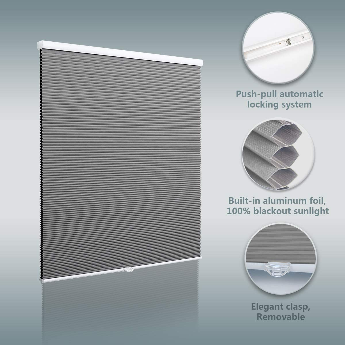 24 W x 64 H Blackout Cellular Shades Cordless Window Blinds and Shades Pull Up Honeycomb Shades for Home Beige
