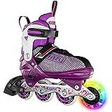 Crazy Skates Rocket Roller Skates for Girls and Boys - Great Beginner Kids Skates with Adjustable Motion - Model 168 (Purple)