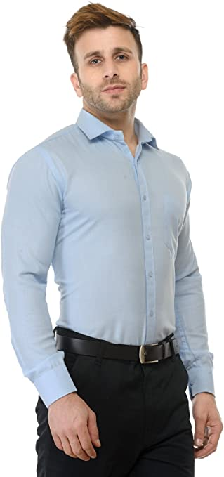 Comaba Mens Trendy Slim Casual Panelled Dress Shirt with Pockets