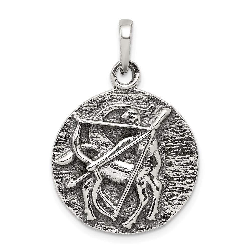 Mia Diamonds 925 Sterling Silver Solid Polished Antique Finish Sagittarius Horoscope Pendant 29mm x 19mm