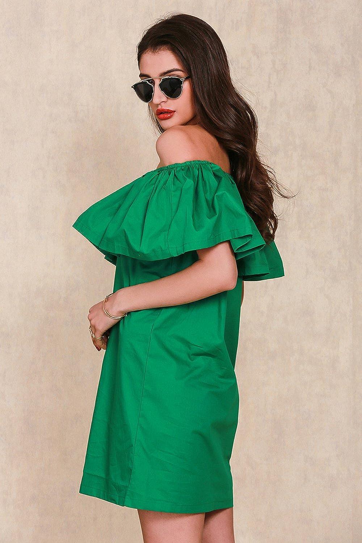 Relipop Women&39s Off Shoulder Ruffles Mini Dress Cotton casual ...