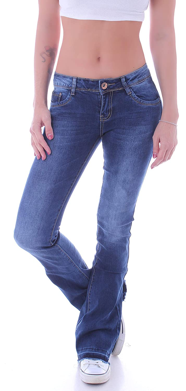 Damen Bootcut Jeans Hüftjeans Schlaghose Schlagjeans Blau Stretch Hose