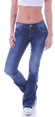 3a10f5f0b00e Damen Bootcut Jeans Hüftjeans Schlaghose Schlagjeans Blau Stretch Hose