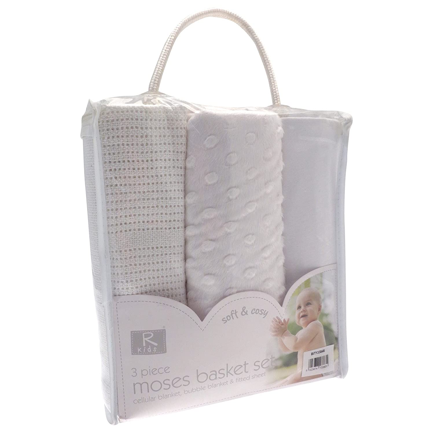 3PC WHITE MOSES BASKET SET BABY BEDDING KIT * CELLULAR BLANKET BUBBLE BLANKET FITTED SHEET BabyCentre