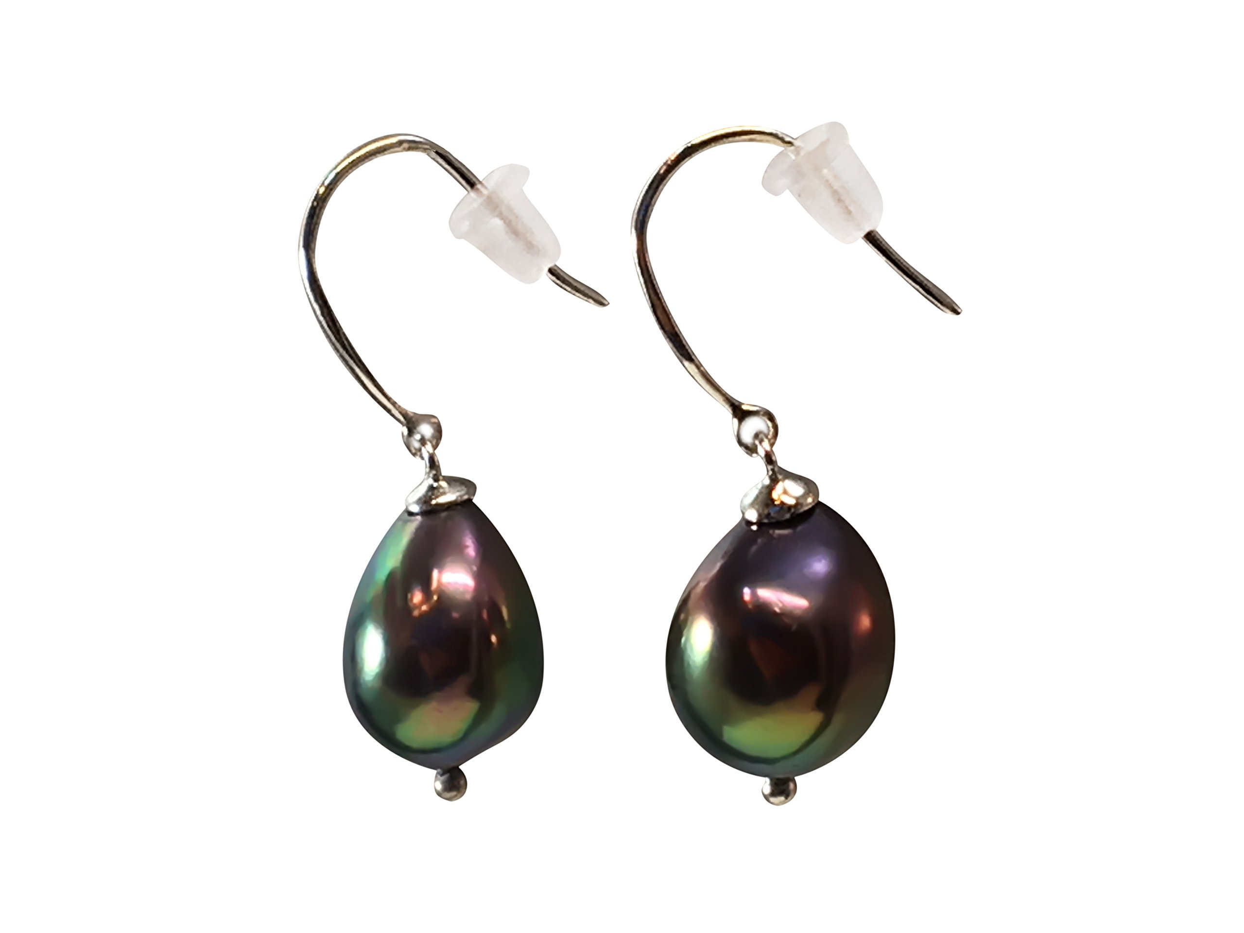 HinsonGayle AAA Handpicked 9-9.5mm Black Baroque Freshwater Cultured Pearl Dangle Earrings Silver