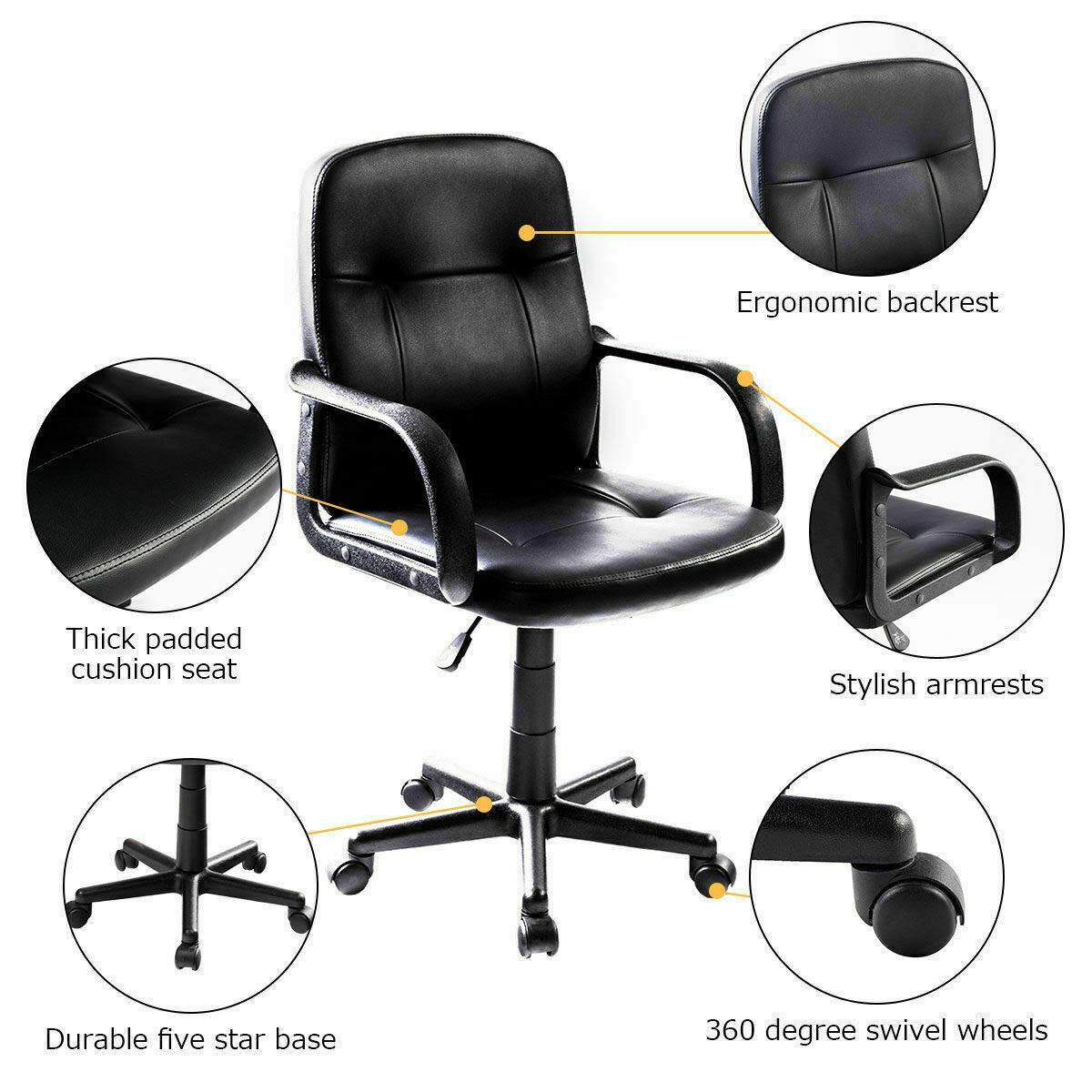Seleq Compact Black PU Leather Desk Chair for Home Office by Seleq (Image #3)