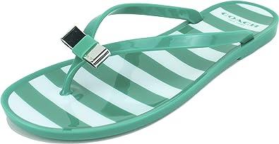 Landon Stripe Jelly Thong Sandals, Jade