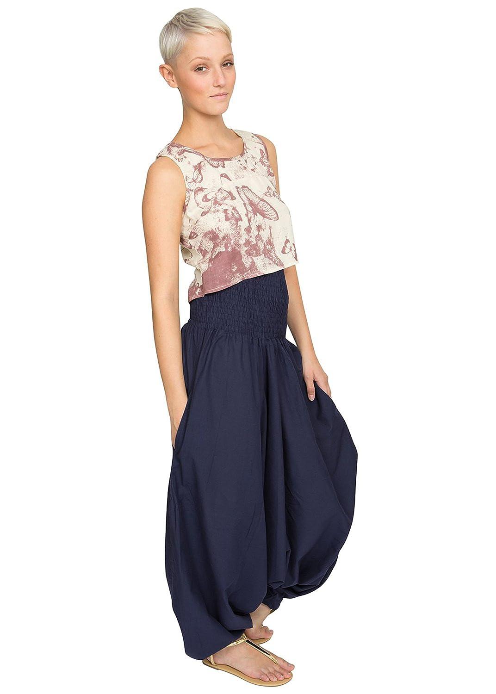 likemary Mono Largo Bandeau o pantalón Afgano de algodón 2 en 1 Azul: Amazon.es: Ropa y accesorios