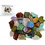 Fantasia Materials: 3 lbs Bulk Rough Madagascar Stone Mix with 30 Page Stone Info Book - Raw Natural Crystals & Rocks for Cabbing, Lapidary, Tumbling, Polishing, Wire Wrapping and Reiki