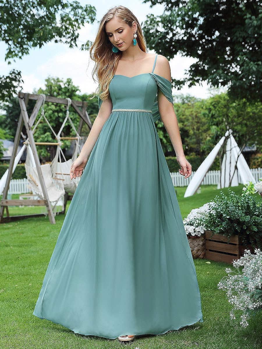 Ever-Pretty Abiti da Damigella Lungo Elegante Stile Impero Chiffon con Scialle Donna 00599