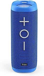 Tribit StormBox Bluetooth Speaker - 24W Portable Speaker, 360° Full Surround Sound, Enhanced Bass, Wireless Dual Pairing, IPX7 Waterproof, 20-Hour Playtime, 66ft Bluetooth Range Outdoor Speaker (Blue)