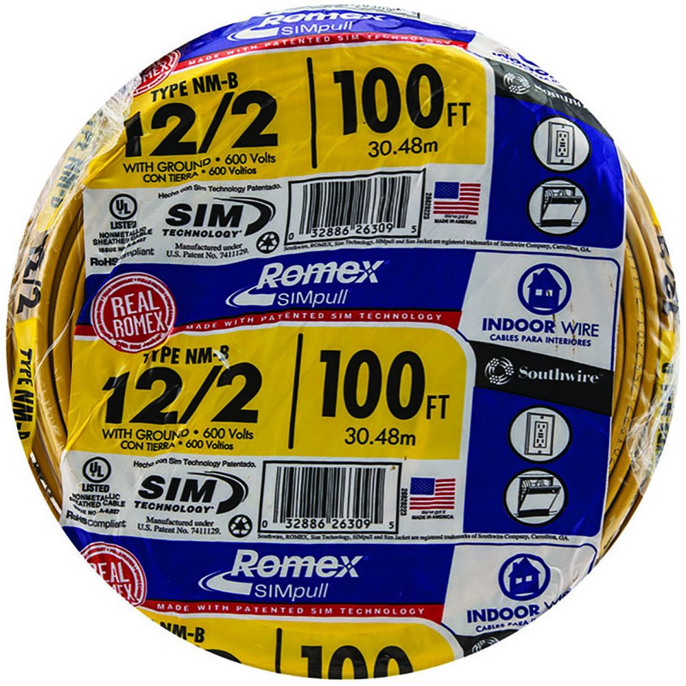 Southwire 28828228 100' 12/2 with ground Romex brand SIMpull residential indoor electricial wire type NM-B, Yellow