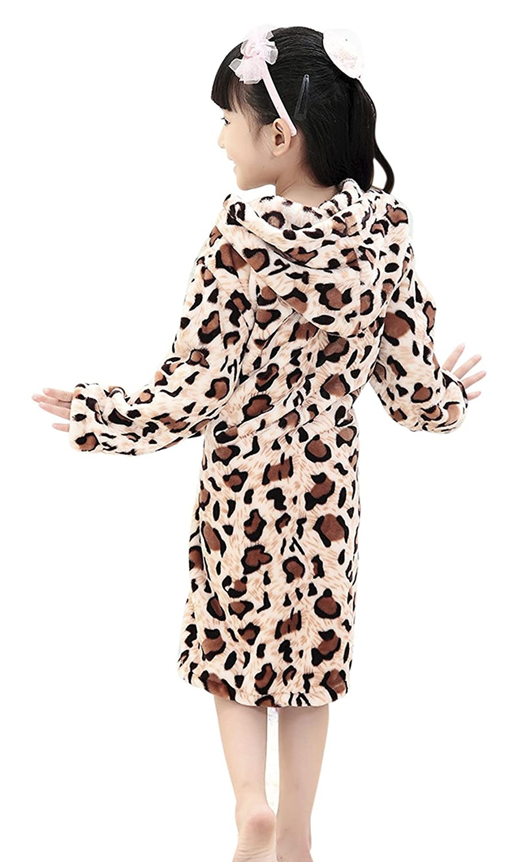 Kids Boys Girls Winter Fleece Plush Hooded Home Sleep Wear Pajamas Bath Robe