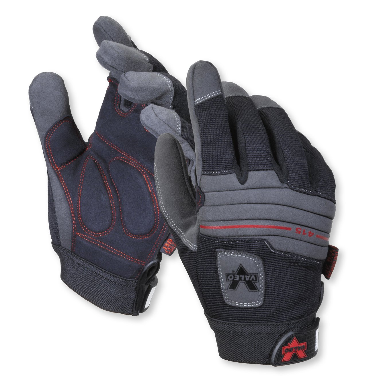 Valeo Industrial V415 Mechanics Anti-Vibe Gloves with Padded Back, VI4867, Pair, Black, Medium by Valeo (Image #1)