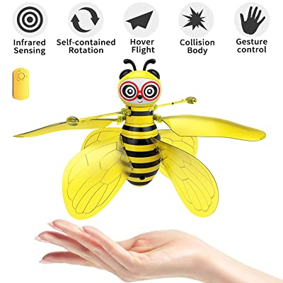 pop mart Bee Toy Bumblebee Drones Hand-Controlled Bee Flying Toys Palm Induction Parachute Figures RC Rechargeable Cute Honeybee Induction Helicopter Ball Shinning Lights Safe Durable: Toys & Games