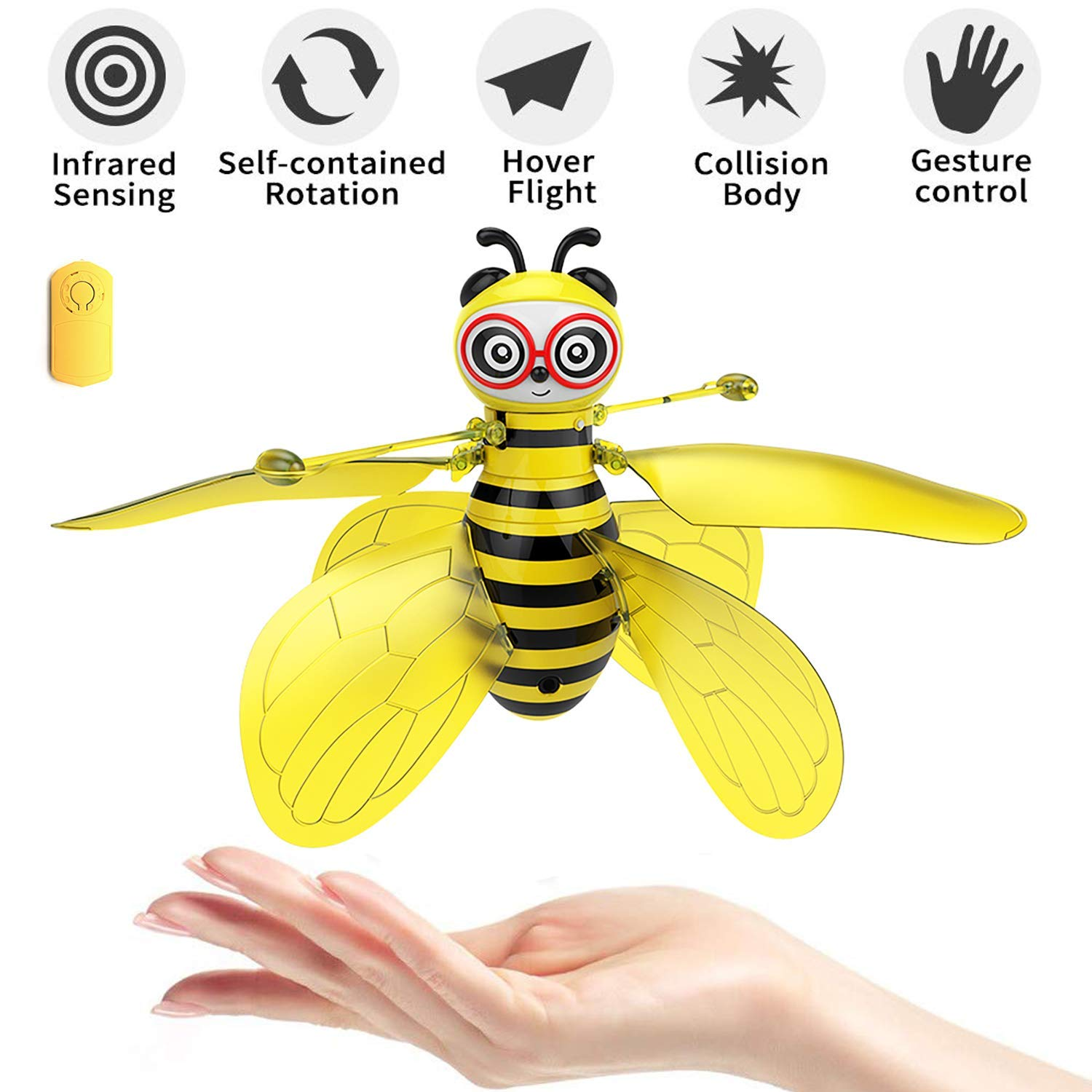 pop mart Bee Toy Bumblebee Drones Hand-Controlled Bee Flying Toys Palm Induction Parachute Figures RC Rechargeable Cute Honeybee Induction Helicopter Ball Shinning Lights Safe Durable by pop mart