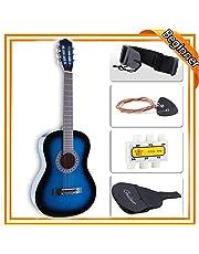 LAGRIMA 38 inch Beginner Acoustic Guitar Starter Kit Kids Adult with Guitar Case, Strap, Tuner & Pick Steel Strings (Blue)