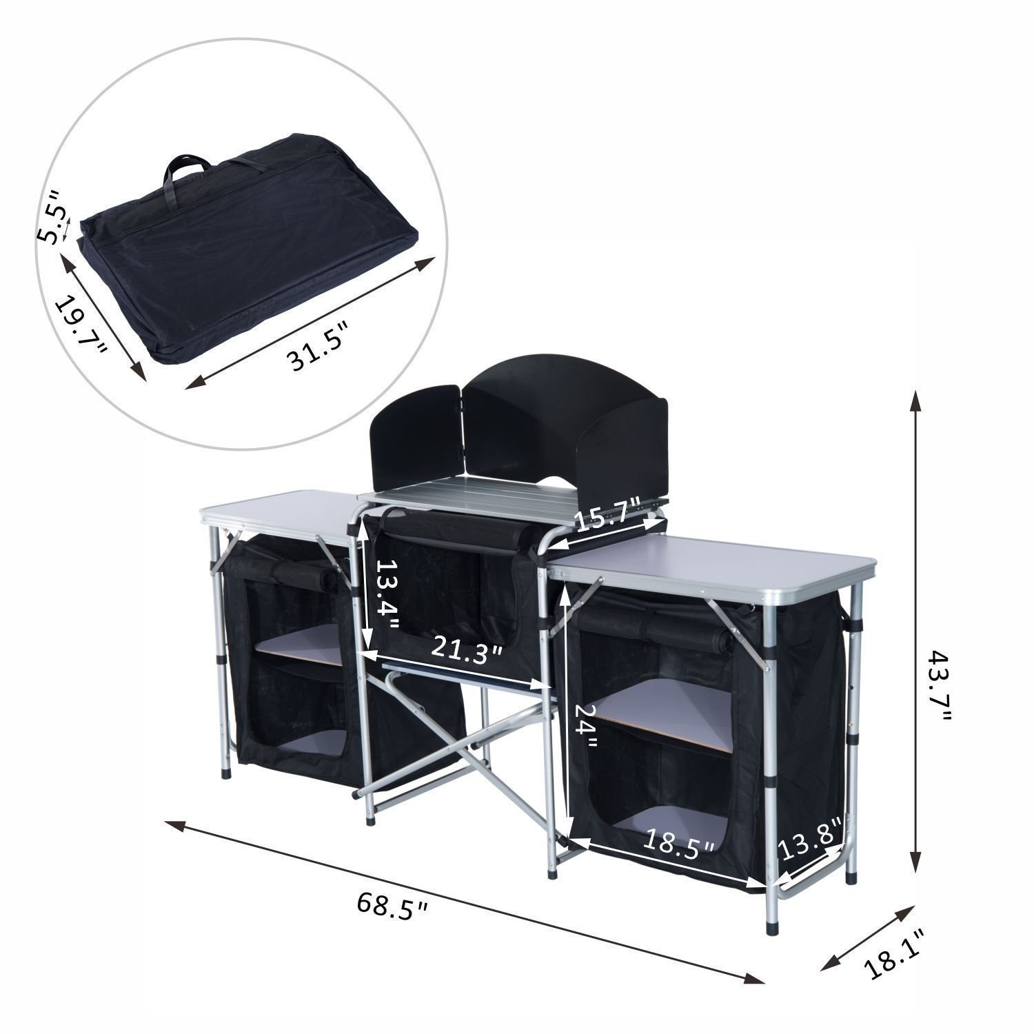 ABC.store Camping Kitchen Picnic Cabinet Table Portable Folding Cooking Storage Rack