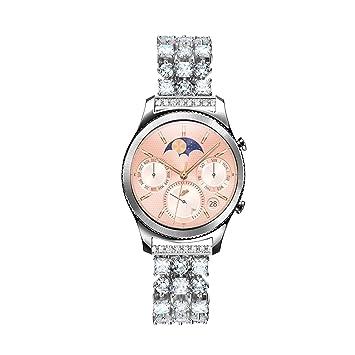 Solomo Gear S3 Bracelet de Montre Connectée, 22mm à la Mode Luxe Diamants pour Femme Acier ...